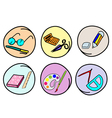 A Set of School Supplies on Round Background vector image vector image