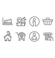 avatar cleaning and trade chart icons remove vector image