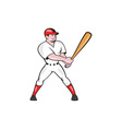 Baseball Hitter Batting Isolated Cartoon vector image vector image