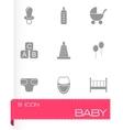 black baby icon set vector image vector image