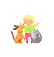 blonde toddler girl hugging cat and dog playing vector image vector image