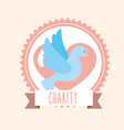 blue pigeon heart donate charity label banner vector image