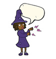 cartoon witch casting spell with speech bubble vector image vector image
