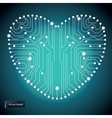 Circuit board with in heart shape pattern vector image vector image