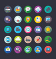 coloured flat icons of network and communi vector image vector image