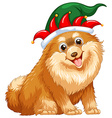 Cute dog wearing jester hat vector image vector image