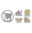 delivery service isolated icon supermarket cart vector image vector image