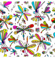 dragonflies seamless pattern for your design vector image