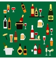 Drinks beverages and alcohol cocktails flat icons vector image vector image