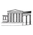 erechtheum house vintage engraving vector image vector image