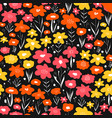 flower meadow seamless pattern pink yellow vector image vector image