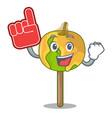 foam finger candy apple mascot cartoon vector image vector image