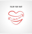 follow your heart typographical design elements vector image vector image