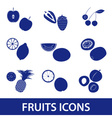 fruits and half fruits icons eps10 vector image vector image