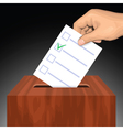 Hand putting voting paper with approved checkmark vector image vector image