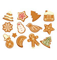 happy holidays christmas traditional cookies vector image vector image