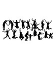 happy jumping silhouettes vector image