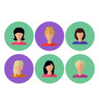 image of female faces flat vector image vector image