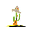isolated cactus with a mexican hat and a guitar vector image