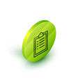 isometric line clipboard with checklist icon vector image vector image