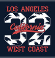 los angeles california - number print for t-shirt vector image vector image
