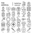medical line icon set medicine symbols collection vector image vector image