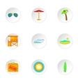 Miami city icons set cartoon style vector image vector image