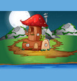 mushroom wooden house in nature vector image vector image