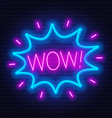 neon sign word wow in frame on dark background vector image