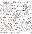 pattern with handwritten words about beauty vector image vector image