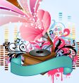 pop music gramophone vector image vector image