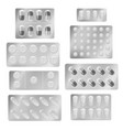 realistic blister packs pills medical tablet vector image vector image