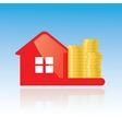 Red glance house and golden coins icon vector image vector image
