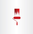 red paint roller abstract icon vector image vector image