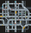 road junctions on dark background with cars top vector image vector image