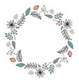 round garland with season flowers contour wreath vector image