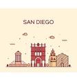San Diego skyline linear vector image vector image