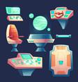 set of cartoon spaceship design elements vector image vector image