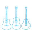 silhouettes classic guitars isolated on white vector image vector image