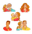 sketch happy family hugs kisses set vector image vector image