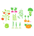 Smiling veggies set vector image vector image