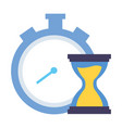 stopwatch and hourglass time vector image