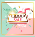summer banner with flamingo vector image