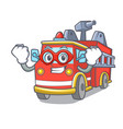 super hero fire truck character cartoon vector image vector image