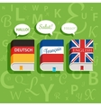 textbooks english german and french vector image vector image