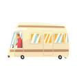vintage cartoon travel minibus camper van vector image vector image