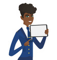 young african stewardess holding tablet computer vector image vector image