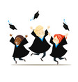 young graduates rejoice and throw their hats vector image