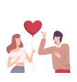 young woman offering her heart to man refusing to vector image vector image