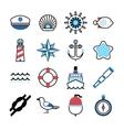 Marine sea icons set vector image